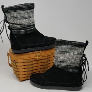 TOMS Black Wool Stripe Women's Nepal Boots 7.5